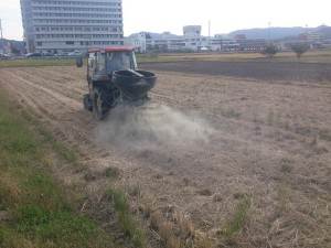 有機肥料散布中
